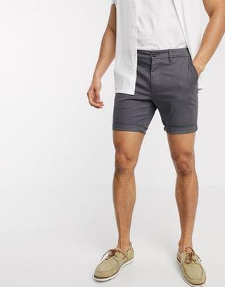 skinny chino shorts in washed black