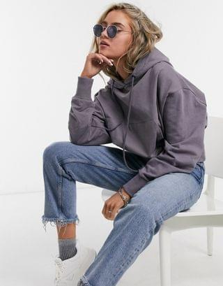 WOMEN COLLUSION crop basic oversized hoodie in gray