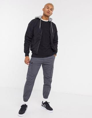 Pull&Bear padded bomber jacket with jersey hood in black