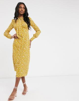 WOMEN Fashion Union Tall midi dress with high neck detail in retro floral priint