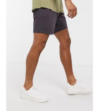 slim chino shorts with elastic waist in washed black
