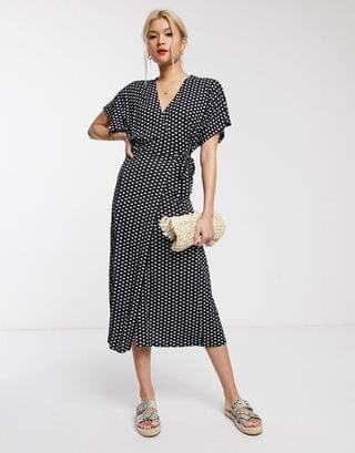 WOMEN Whistles exclusive elephant print wrap jersey midi dress in black elephant print