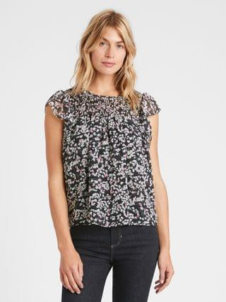 WOMEN Floral Smocked Blouse