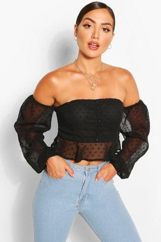 WOMEN Dobby chiffon off the shoulder top