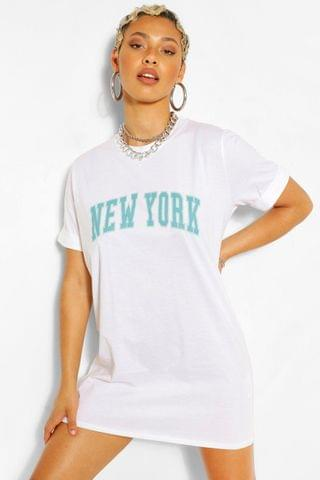 WOMEN New York Print T Shirt Dress