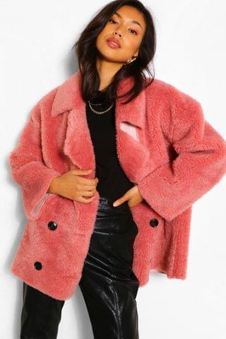 WOMEN Suedette Lined Double Breasted Teddy Faux Fur Coat
