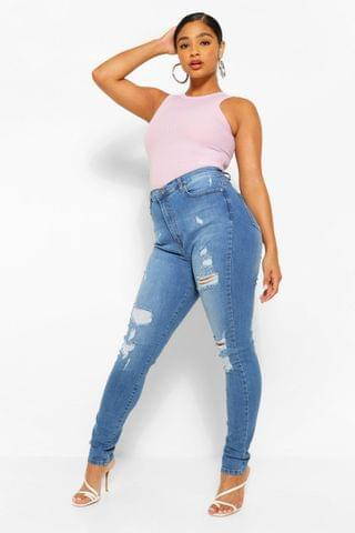 WOMEN Plus Distressed Super High Waisted Jeans