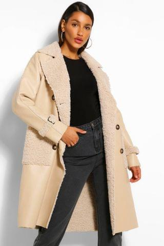 WOMEN Faux Leather Teddy Trim Trench Coat