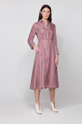 WOMEN Shirt dress in pure silk with new-season print