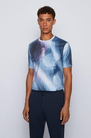 MEN Cotton T-shirt with gradient print and vertical logo