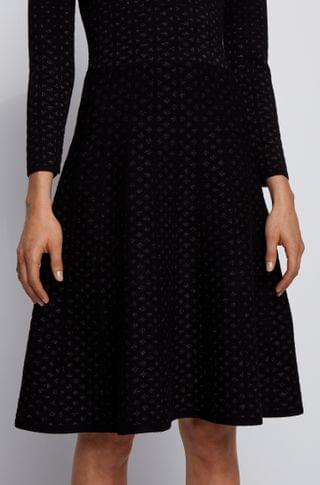 WOMEN Jacquard-knit long-sleeved dress with degrad effect