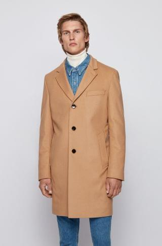 MEN Slim-fit coat in virgin wool with cashmere
