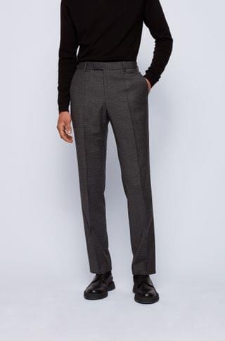 MEN Regular-fit pants in stretch wool with mini check