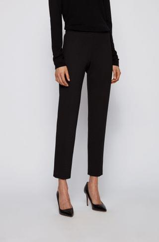 WOMEN Slim-leg pants in stretch jersey with houndstooth pattern
