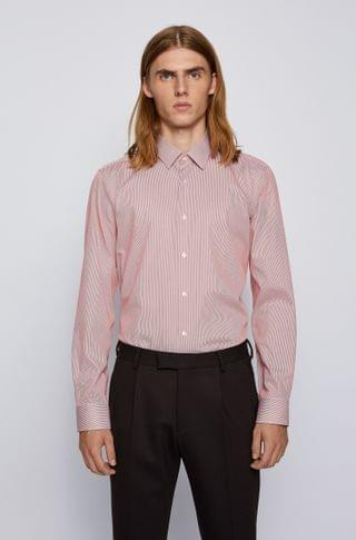 MEN Regular-fit shirt in striped cotton with Pure Comfort finish