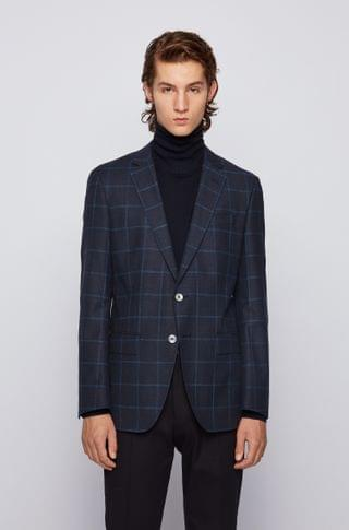MEN Windowpane-checked slim-fit jacket in wool, cotton and linen