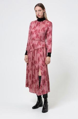 WOMEN Midi-length frilled dress with collection-themed toile print