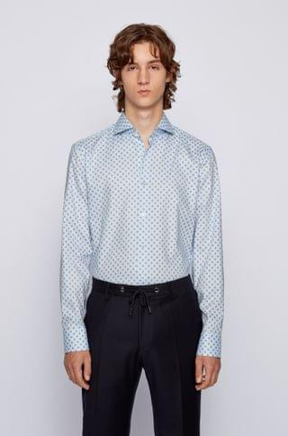 MEN Slim-fit shirt in geometric-print cotton with Fresh Active finish