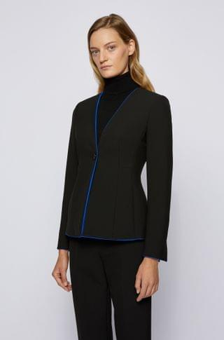 WOMEN Regular-fit collarless jacket with contrast trims