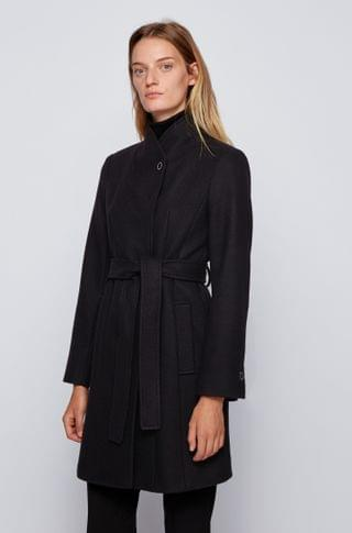 WOMEN Belted coat in a virgin-wool blend with cashmere