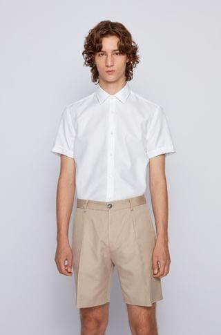 MEN Short-sleeved slim-fit shirt with Cool Comfort finish