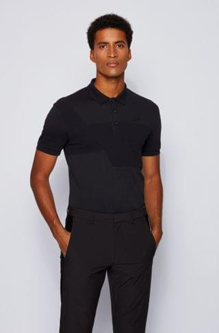 MEN Cotton polo shirt with ottoman-structured panels