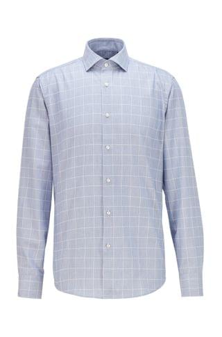 MEN Regular-fit shirt in checked thermoregulating twill