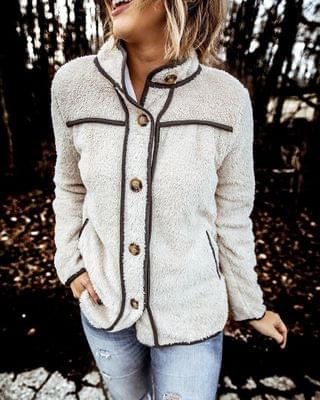 WOMEN Fluffy Contrast Piping Button Design Coat