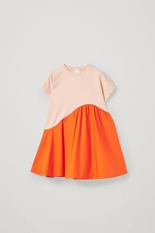 KIDSS ORGANIC COTTON CONTRAST PANEL DRESS