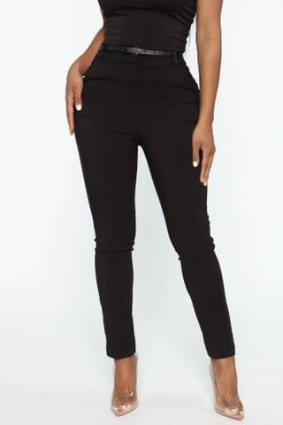 WOMEN You Can Call Me Boss Lady Belted Pants - Black