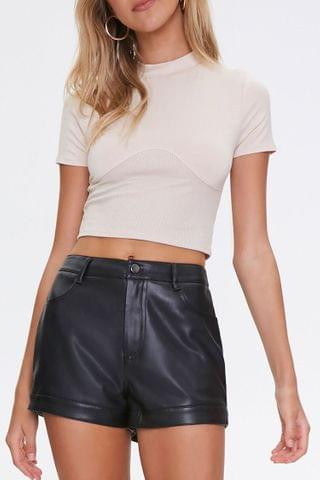 WOMEN Faux Leather High-Rise Shorts