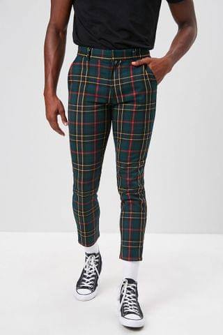 MEN Plaid Slim-Fit Ankle Trousers