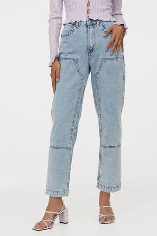WOMEN Straight Patched High Jeans