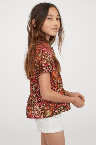KIDS Puff-sleeved Cotton Top