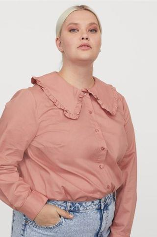 WOMEN H&M+ Wide-collared Shirt