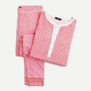 WOMEN Dreamy henley pajama set in block print