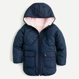 KIDS Girls' reversible quilted sherpa jacket with eco-friendly PrimaLoft