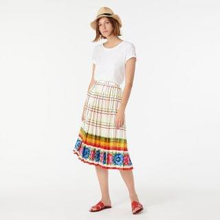 WOMEN Pleated midi skirt with floral border