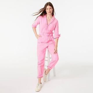 WOMEN Garment-dyed coverall jumpsuit