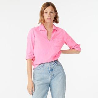 WOMEN Garment-dyed denim popover shirt