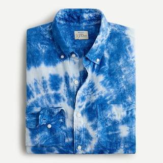 MEN Slim linen shirt in tie-dye