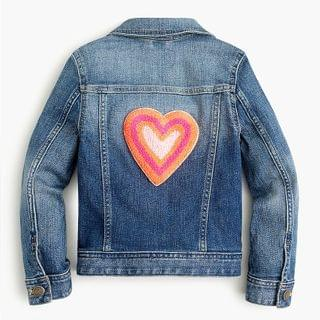 KIDS Girls' denim jacket with heart patches