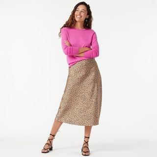 WOMEN Pull-on slip skirt in leopard dot