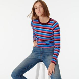 WOMEN Ribbed sweater in stripe