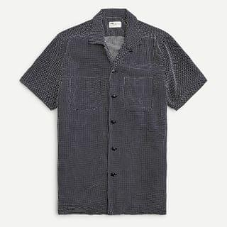MEN Short-sleeve camp-collar shirt in cross dobby