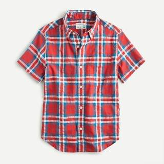 KIDS Boys' short-sleeve shirt in textured red plaid