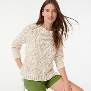 WOMEN Cotton cable-knit pointelle sweater