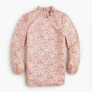 WOMEN Long-sleeve ruffleneck top in Liberty Phoebe floral