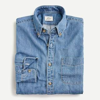 MEN Slim midweight denim shirt in light wash