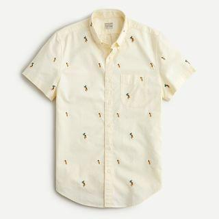MEN Short-sleeve cotton oxford shirt in embroidered critters